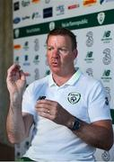 21 May 2019; Republic of Ireland goalkeeping coach Alan Kelly speaking during a media update at The Campus, Quinta do Lago in Faro, Portugal. Photo by Seb Daly/Sportsfile
