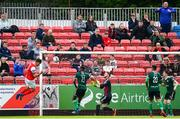 21 May 2019; Kevin Toner of St Patrick's Athletic heads his side's first goal of the game during the SSE Airtricity League Premier Division match between St Patrick's Athletic and Derry City at Richmond Park in Dublin. Photo by Ramsey Cardy/Sportsfile