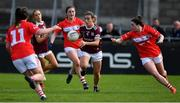 5 May 2019; Sinead Burke of Galway in action against Ciara O'Sullivan, Clare O'Shea and Shauna Kelly of Cork during the Lidl Ladies National Football League Division 1 Final match between Cork and Galway at Parnell Park in Dublin. Photo by Brendan Moran/Sportsfile