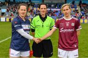 5 May 2019; Referee Maggie Farrelly with captains Martina O'Brien of Cork, left, ad Tracey Leonard of Galway prior to the Lidl Ladies National Football League Division 1 Final match between Cork and Galway at Parnell Park in Dublin. Photo by Brendan Moran/Sportsfile