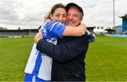 5 May 2019; Former Waterford manager Micheal Ryan celebrates with his daughter Michelle after during the Lidl Ladies National Football League Division 2 Final match between Kerry and Waterford at Parnell Park in Dublin. Photo by Brendan Moran/Sportsfile