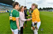 5 May 2019; President of the LGFA Marie Hickey meets Robyn White of Kerry prior to the Lidl Ladies National Football League Division 2 Final match between Kerry and Waterford at Parnell Park in Dublin. Photo by Brendan Moran/Sportsfile