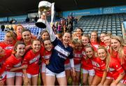 5 May 2019; Cork captain Martina O'Brien ahd her team-mates celebrate with the cup after the Lidl Ladies National Football League Division 1 Final match between Cork and Galway at Parnell Park in Dublin. Photo by Brendan Moran/Sportsfile