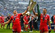 11 May 2019; Alex Goode, left, and Sean Maitland of Saracens celebrate with the cup after the Heineken Champions Cup Final match between Leinster and Saracens at St James' Park in Newcastle Upon Tyne, England. Photo by Brendan Moran/Sportsfile