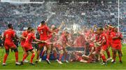 11 May 2019; The Saracens team celebrate with the cup after the Heineken Champions Cup Final match between Leinster and Saracens at St James' Park in Newcastle Upon Tyne, England. Photo by Brendan Moran/Sportsfile