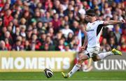 4 May 2019; John Cooney of Ulster kicks a penalty during the Guinness PRO14 quarter-final match between Ulster and Connacht at Kingspan Stadium in Belfast. Photo by Brendan Moran/Sportsfile