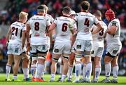 4 May 2019; Ulster captain Rory Best, 4th from right, speaks to his players during the Guinness PRO14 quarter-final match between Ulster and Connacht at Kingspan Stadium in Belfast. Photo by Brendan Moran/Sportsfile