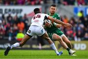 4 May 2019; Tiernan O'Halloran of Connacht is tackled by Robert Baloucoune of Ulster during the Guinness PRO14 quarter-final match between Ulster and Connacht at Kingspan Stadium in Belfast. Photo by Brendan Moran/Sportsfile