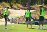 22 May 2019; Republic of Ireland players, from left, Alan Browne, Sean Maguire and Callum Robinson during a Republic of Ireland training session at The Campus in Quinta do Lago, Faro, Portugal. Photo by Seb Daly/Sportsfile