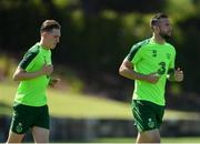 22 May 2019; Shane Duffy, right, and Ronan Curtis during a Republic of Ireland training session at The Campus in Quinta do Lago, Faro, Portugal. Photo by Seb Daly/Sportsfile
