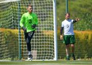 22 May 2019; Mark Travers, left, and goalkeeping coach Alan Kelly, right, during a Republic of Ireland training session at The Campus in Quinta do Lago, Faro, Portugal. Photo by Seb Daly/Sportsfile