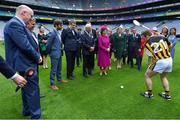 22 May 2019; Queen Silvia and King Carl XVI Gustaf of Sweden are diven a demonstration of hurling by Kilkenny hurler Richie Hogan watched by Uachtaráin Cumann Lúthchleas Gael John Horan and Colin Regan, GAA Community and Health manager, during a visit to Croke Park GAA Stadium in Dublin. Photo by Brendan Moran/Sportsfile