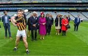 22 May 2019; Queen Silvia and King Carl XVI Gustaf of Sweden are given a demonstration of hurling by Kilkenny hurler Richie Hogan during a visit to Croke Park GAA Stadium in Dublin. Photo by Brendan Moran/Sportsfile