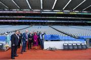 22 May 2019; Queen Silvia and King Carl XVI Gustaf of Sweden are shown around the stadium by GAA Community and Health Manager, Colin Regan, Uachtaráin Cumann Lúthchleas Gael John Horan and GAA Commercial Director and Stadium Manager Peter McKenna during a visit to Croke Park GAA Stadium in Dublin. Photo by Brendan Moran/Sportsfile