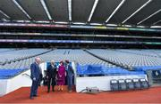 22 May 2019; Queen Silvia and King Carl XVI Gustaf of Sweden are shown around the stadium by GAA Community and Health Manager, Colin Regan and Uachtaráin Cumann Lúthchleas Gael John Horan during a visit to Croke Park GAA Stadium in Dublin. Photo by Brendan Moran/Sportsfile