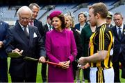22 May 2019; Queen Silvia and King Carl XVI Gustaf of Sweden are shown a hurley by Kilkenny hurler Richie Hogan during a visit to Croke Park GAA Stadium in Dublin. Photo by Brendan Moran/Sportsfile