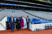 22 May 2019; Queen Silvia and King Carl XVI Gustaf of Sweden are shown around the stadium by GAA Community and Health Manager Colin Regan and Uachtaráin Cumann Lúthchleas Gael John Horan during a visit to Croke Park GAA Stadium in Dublin. Photo by Brendan Moran/Sportsfile