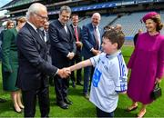 22 May 2019; Queen Silvia and King Carl XVI Gustaf of Sweden meet Tommy Keely, from Ard Cath School in Meath, during a visit to Croke Park GAA Stadium in Dublin. Photo by Brendan Moran/Sportsfile
