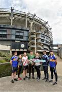 22 May 2019; Conal Ó h-Iarnáin, CLG Oileáin Árann, Co na. Gaillimhe with the cup and from left Aodhán MacFhionnghaile, Cill Chartha, Dhún na nGall, Sinéad Ní Cholmáin, Laochra Loch Lao, Aontroim, Colm Ó Muircheartaigh, An Ghaeltacht, Co. Chiarraí, Séamus Ó Muiraithe Cill Chomáin Co Mhaigh EO, Ciarán Mac Fhearghusa, Na Gaeil Óga, Baile Átha Cliath agus Donie Breathnach, An Rinn, Port Láirge, pictured at the Comórtas Peile na Gaeltachta 2019 at Croke Park in Dublin. Photo by Matt Browne/Sportsfile
