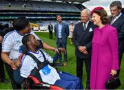 22 May 2019; Queen Silvia and King Carl XVI Gustaf of Sweden meet Alec Akpan, from the CRC School, Clontarf, Dublin, and his mother Eka, during a visit to Croke Park GAA Stadium in Dublin. Photo by Brendan Moran/Sportsfile