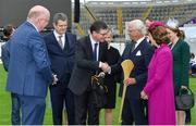 22 May 2019; Queen Silvia and King Carl XVI Gustaf of Sweden are presented with a hurley by Ard Stiúrthóir of the GAA Tom Ryan and during a visit to Croke Park GAA Stadium in Dublin. Photo by Brendan Moran/Sportsfile