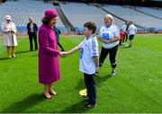 22 May 2019; Queen Silvia of Sweden meets Tommy Keely, from Ard Cath School in Meath, during a visit to Croke Park GAA Stadium in Dublin. Photo by Brendan Moran/Sportsfile