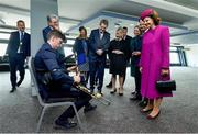 22 May 2019; Queen Silvia and King Carl XVI Gustaf of Sweden are entertained by Eamonn Óg Donnchadha playing the Uilleann pipes during a visit to Croke Park GAA Stadium in Dublin. Photo by Brendan Moran/Sportsfile