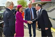 22 May 2019; Queen Silvia and King Carl XVI Gustaf of Sweden are greeted by Uachtaráin Cumann Lúthchleas Gael John Horan and GAA Commercial Director and Stadium Manager Peter McKenna during a visit to Croke Park GAA Stadium in Dublin. Photo by Brendan Moran/Sportsfile