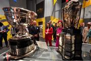 22 May 2019; Queen Silvia and King Carl XVI Gustaf of Sweden are shown the Sam Maguire and Liam MacCarthy cups by GAA Museum Director Niamh McCoy during a visit to Croke Park GAA Stadium in Dublin. Photo by Brendan Moran/Sportsfile