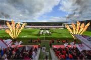 4 May 2019; Ulster captain Rory Best leads his side out prior to the Guinness PRO14 quarter-final match between Ulster and Connacht at Kingspan Stadium in Belfast. Photo by Brendan Moran/Sportsfile