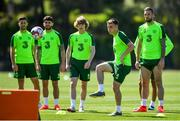 23 May 2019; Seamus Coleman, second right, with team-mates, from left, Shane Long Robbie Brady, Luca Connell and Shane Duffy during a Republic of Ireland training session at The Campus in Quinta do Lago, Faro, Portugal. Photo by Seb Daly/Sportsfile