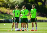 23 May 2019; Republic of Ireland players, from left, Shane Long, Luca Connell, Robbie Brady, Seamus Coleman and Matt Doherty during a Republic of Ireland training session at The Campus in Quinta do Lago, Faro, Portugal. Photo by Seb Daly/Sportsfile