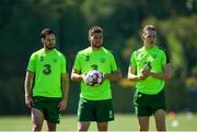 23 May 2019; Republic of Ireland players, from left, Greg Cunningham, Matt Doherty and Ronan Curtis during a Republic of Ireland training session at The Campus in Quinta do Lago, Faro, Portugal. Photo by Seb Daly/Sportsfile