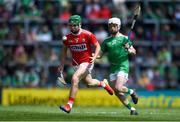 19 May 2019; Brian O'Sullivan of Cork in action against Cian Casey of Limerick during the Electric Ireland Munster Minor Hurling Championship match between Limerick and Cork at the LIT Gaelic Grounds in Limerick. Photo by Piaras Ó Mídheach/Sportsfile