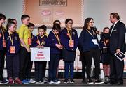 20 May 2019; For their creative and witty cards to encourage conversation - and reduce the overuse of phones and tablets, the winners of the 2019 Community Champions Award are Cathyrn Girvan's class from St Mary's Primary School, Dungannon, Co.Tyrone with their product, CHATTER BOXES! The award was presented by David McCullough, a journalist with RTÉ, and a presenter of Prime Time and This Week, and here teacher Cathyrn Girvan is interviewed by Marty Whelan at the JEP National Showcase Day which took place in RDS Simmonscourt, Ballsbridge, Dublin. Photo by Ray McManus/Sportsfile