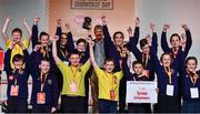 20 May 2019; For their creative and witty cards to encourage conversation - and reduce the overuse of phones and tablets, the winners of the 2019 Community Champions Award are Cathyrn Girvan's class from St Mary's Primary School, Dungannon, Co.Tyrone with their product, CHATTER BOXES! The award was presented by David McCullough, a journalist with RTÉ, and a presenter of Prime Time and This Week, at the JEP National Showcase Day which took place in RDS Simmonscourt, Ballsbridge, Dublin. Photo by Ray McManus/Sportsfile