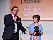 20 May 2019; Winner of the Bright Spark award Conor Bradfield, St. Mary's Central School, Enniskean, Co.Cork for his High Tech Dog Kennel with presenter Marty Morrissey at the JEP National Showcase Day which took place in RDS Simmonscourt, Ballsbridge, Dublin. Photo by Ray McManus/Sportsfile