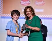 20 May 2019; Winner of the Bright Spark award Conor Bradfield, St. Mary's Central School, Enniskean, Co.Cork for his High Tech Dog Kennel with East Coast Bakehouse Co-Founder Alison Cowzer at the JEP National Showcase Day which took place in RDS Simmonscourt, Ballsbridge, Dublin.     Photo by Ray McManus/Sportsfile