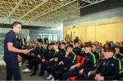 23 May 2019; FAI Development Officer Denis Hyland speaks at the 2019 FAI / Fingal TY Course Graduation at Blanchardstown Civic Office in Dublin. Photo by Harry Murphy/Sportsfile