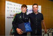 23 May 2019; Student Of The Year Cian O'Malley and  FAI Development officer Denis Hyland pictured at the 2019 FAI / Fingal TY Course Graduation at Blanchardstown Civic Office in Dublin. Photo by Harry Murphy/Sportsfile