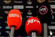 13 May 2019; A general view of the microphones of offtheball.com, 98fm, and Spin 1038 at a Leinster Rugby Press Conference at Leinster Rugby Headquarters in UCD, Dublin. Photo by Piaras Ó Mídheach/Sportsfile