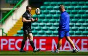 24 May 2019; Cian Healy, left, and Senior coach Stuart Lancaster during the Leinster captain's run at Celtic Park in Glasgow, Scotland. Photo by Ramsey Cardy/Sportsfile