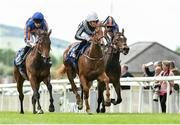 24 May 2019; Albigna, centre, with Shane Foley up, on their way to winning the Irish Stallion Farms EBF Fillies Maiden from second place Tango, left, with Donnacha O'Brien and third place Precious Moments with Ryan Moore at The Curragh Racecourse in Kildare. Photo by Matt Browne/Sportsfile
