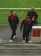 24 May 2019; Patrick Hoban and Daniel Kelly of Dundalk arrive with Dundalk first team coach John Gill prior to the SSE Airtricity League Premier Division match between Dundalk and St Patrick's Athletic at Oriel Park in Dundalk, Co Louth. Photo by Harry Murphy/Sportsfile
