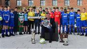 24 May 2019; Republic of Ireland U21 manager Stephen Kenny with participating players at the launch of the 2019 SFAI New Balance Kennedy Cup in Castletroy Hotel, Limerick. The SFAI New Balance Kennedy Cup takes place in UL from 11-15 June. Photo by Piaras Ó Mídheach/Sportsfile