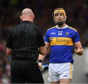 19 May 2019; Séamus Callanan of Tipperary pleads his innocence to referee John Keenan during the Munster GAA Hurling Senior Championship Round 2 match between Tipperary and Waterford at Semple Stadium, Thurles in Tipperary. Photo by Ray McManus/Sportsfile
