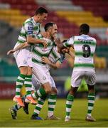 24 May 2019; Joey O'Brien, second from left, celebrates with his Shamrock Rovers team-mates, from left, Aaron Greene, Greg Bolger and Daniel Carr after scoring his side's first goal during the SSE Airtricity League Premier Division match between Shamrock Rovers and Cork City at Tallaght Stadium in Dublin. Photo by Stephen McCarthy/Sportsfile