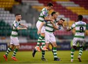 24 May 2019; Joey O'Brien, third from left, celebrates with his Shamrock Rovers team-mates, from left, Jack Byrne, Aaron Greene, Greg Bolger and Daniel Carr after scoring his side's first goal during the SSE Airtricity League Premier Division match between Shamrock Rovers and Cork City at Tallaght Stadium in Dublin. Photo by Stephen McCarthy/Sportsfile