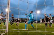 24 May 2019; Roberto Lopes of Shamrock Rovers, extreme left, heads past Cork City goalkeeper Mark McNulty for his side's second goal during the SSE Airtricity League Premier Division match between Shamrock Rovers and Cork City at Tallaght Stadium in Dublin. Photo by Stephen McCarthy/Sportsfile