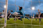 24 May 2019; Cork City goalkeeper Mark McNulty is beaten by a header from Roberto Lopes of Shamrock Rovers, not pictured, during the SSE Airtricity League Premier Division match between Shamrock Rovers and Cork City at Tallaght Stadium in Dublin. Photo by Stephen McCarthy/Sportsfile